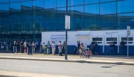 Zona de test rápidos en el aeropuerto de Gibraltar. Foto NG