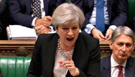 La primera ministra de Reino Unido, Theresa May, en el Parlamento