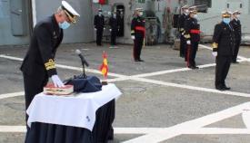Un momento de la toma de posesión el nuevo comandante del CGMAD. Foto CG Flota/Moisés Sanz