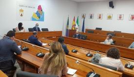 Una imagen de la reunión entre la Mancomunidad y el Grupo Transfronterizo