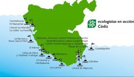Mapa de las banderas negras de Verdemar en la provincia de Cádiz
