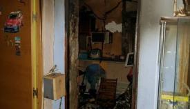 Estado de la vivienda tras el incendio en La Línea