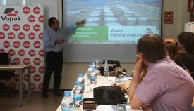 Reciente comparecencia ante la prensa de directivos de la terminal de Algeciras. Foto LR