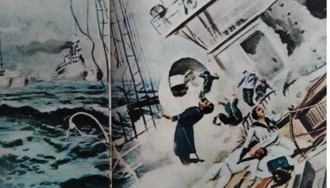 Dibujo de la época sobre la batalla de Santiago de Cuba