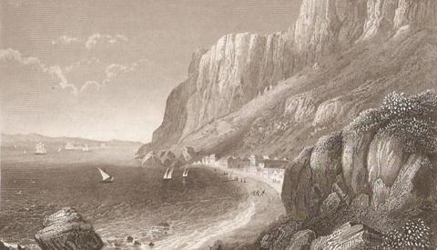 Playa de los Catalanes. Grabado sobre dibujo de C. Reiss, 1840