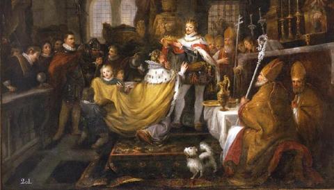 Coronación de Alfonso XI y su esposa María de Portugal (Óleo de Antonio Carnicero)