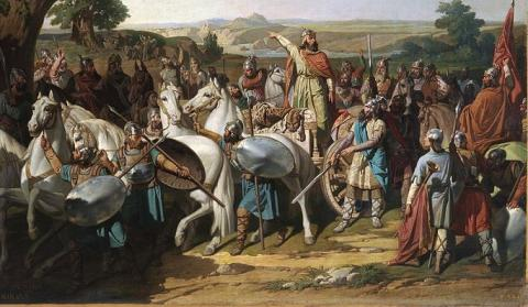 Don Rodrigo en la batalla de Guadalete. Bernardo Blanco, 1871. Museo del Prado