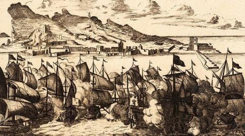 Escuadra enemiga frente a Gibraltar. Grabado de principios del siglo XVIII