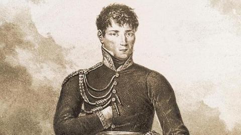 Retrato de Riego, obra de Hipplyte Lecomte (1820)