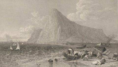 Playa linense de Levante con Gibraltar al fondo. Grabado de principios del siglo XIX