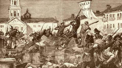 Málaga durante el estallido de la Gloriosa, por W.B Wallen
