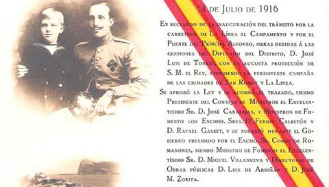 Tarjeta conmemorativa de la inauguración del puente del Príncipe Alfonso