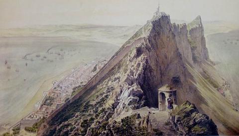 Vista del Peñón de Gibraltar en 1856. Museo Naval. Madrid
