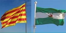 Banderas de Cataluña y Andalucía