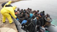 Inmigrantes, en una foto de archivo del Cuartel General de la Flota