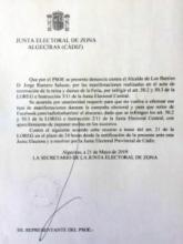 La Junta Electoral de Zona confirma que Romero infringe la ley