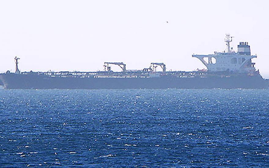 El Grace One, anclado cerca de Gibraltar. Foto NG