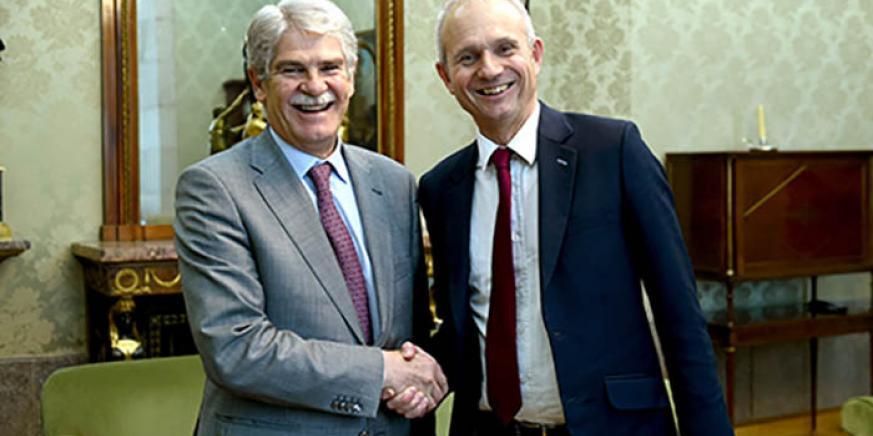 Dastis y Lidington durante la reunión de ayer en el Ministerio español de Asuntos Exteriores
